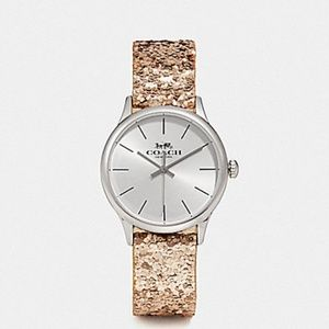 "Coach ""Ruby"" Gold sparkle watch w/black strap"